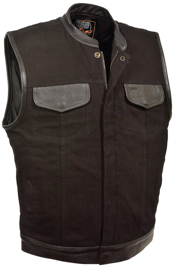 Milwaukee Men's Denim Club Vest with Leather Trims With or Without Lace