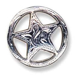 "Engraved Ranger Star Concho 3/4"" (1.9 cm) Silver Plate - Maine-Line Leather"
