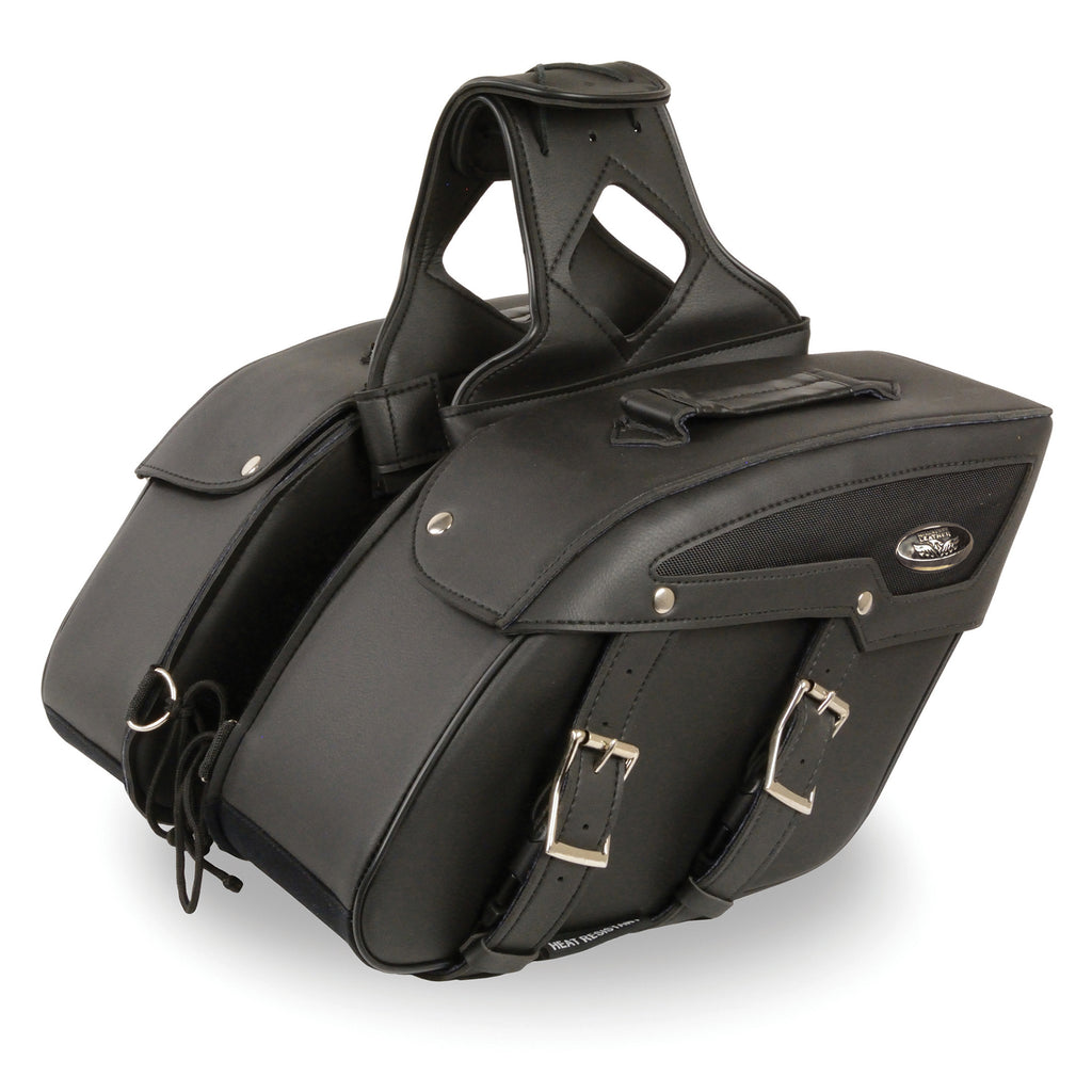 Medium Zip-Off PVC Slanted Throw Over Saddle Bag (13X10X5.5X20)