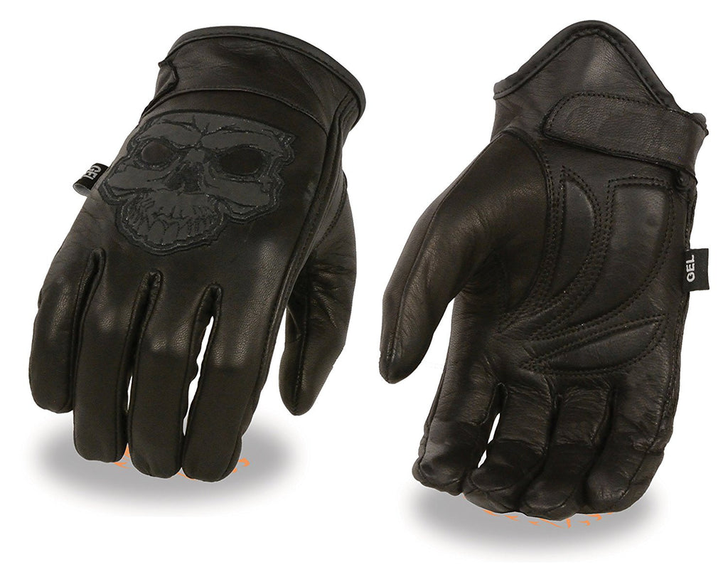 Men's Leather Motorcycle Glove w/ Reflective Skull Design & Gel Palm