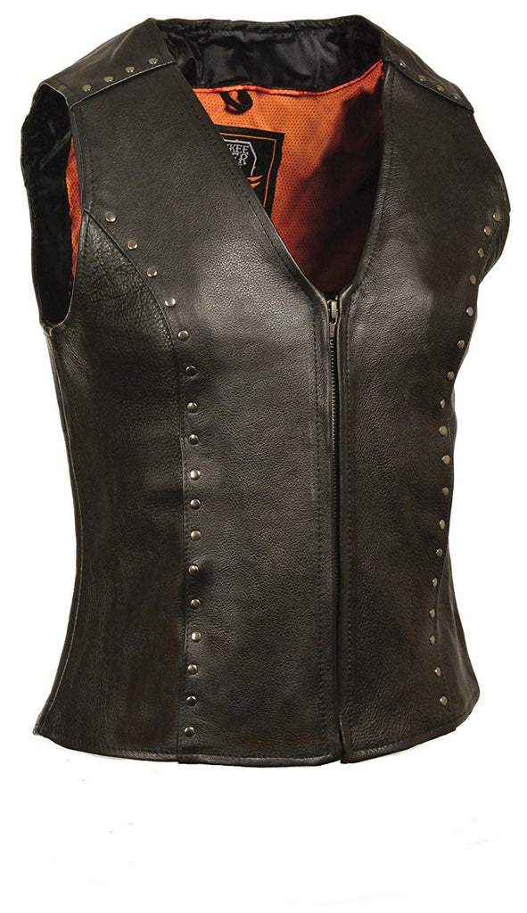 Milwaukee Women's Zipper Front Leather Vest