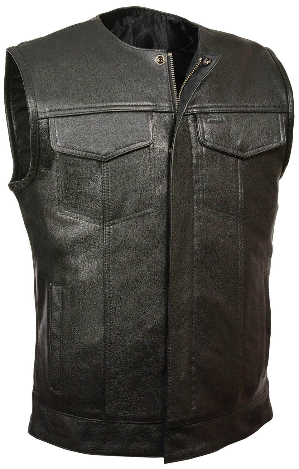 Concealed Snap Closure, Milled Cowhide, Without Collar & Hidden Zipper