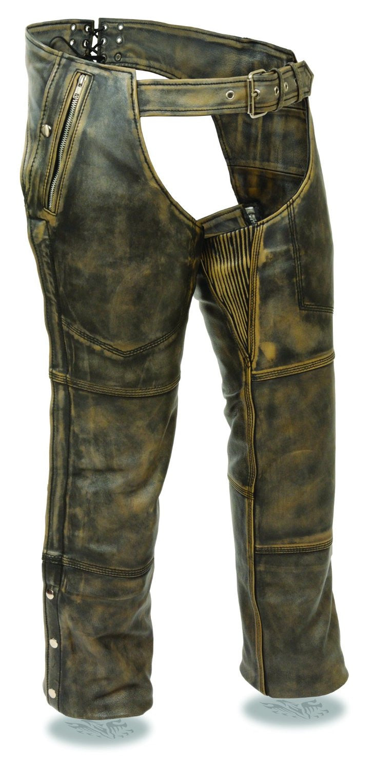 Milwaukee Men's Distressed 4 Pocket Thermal Liner Chaps - Maine-Line Leather - 1