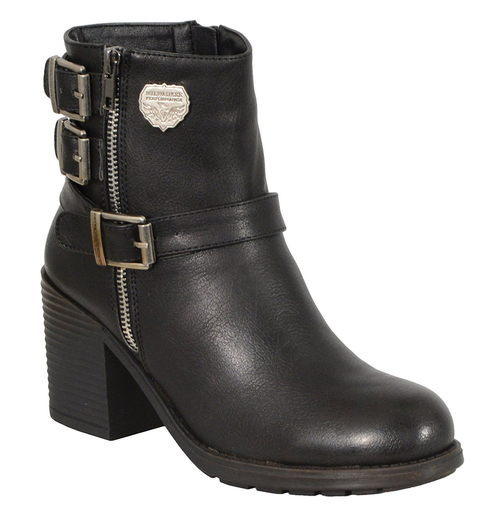 Milwaukee Performance Women's Triple Buckle Side Zip Boots with Platform Heel