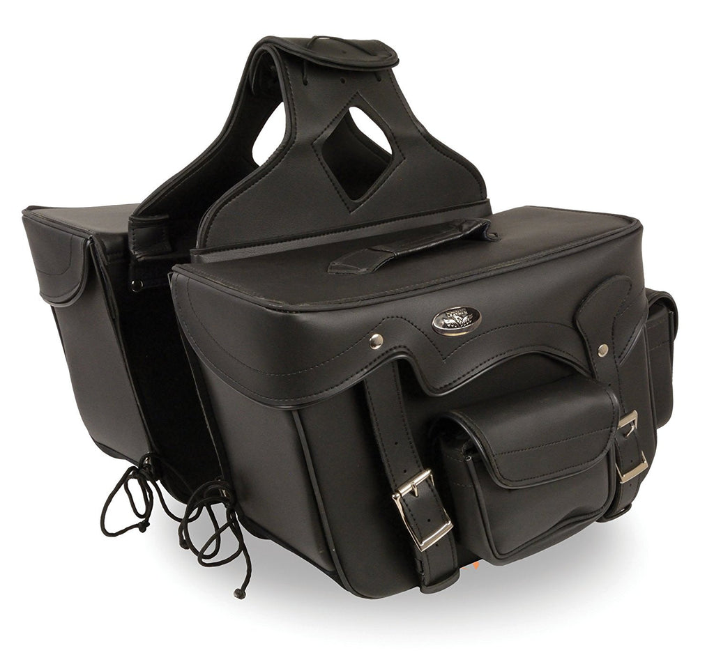 Double Front Pocket PVC Throw Over Saddle Bag w/ Reflective Piping (12x9x6)