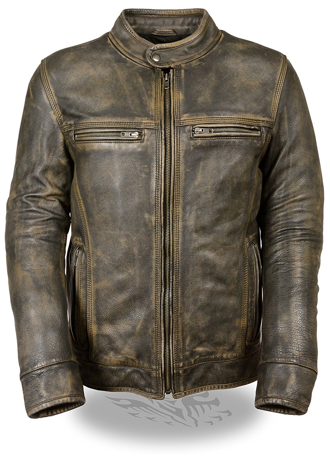 Milwaukee Men's Distressed Brown Leather Scooter Jacket w/ Triple Stitch Detailing - Maine-Line Leather - 1