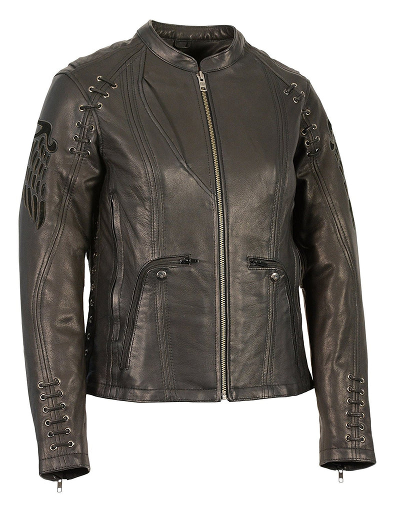 Milwaukee Leather Women's Scooter Jacket with Cutout Wings