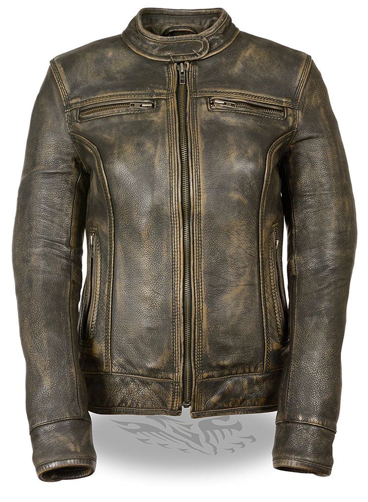 Ladies Distressed Brown Leather Scooter Jacket w/ Triple Stitch Detailing Motorcycle Jacket