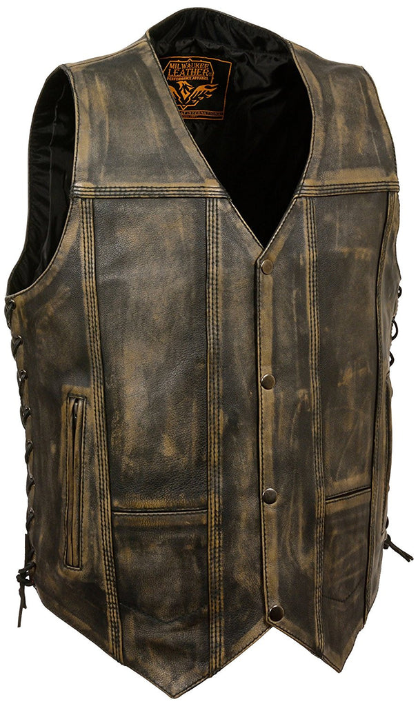 Milwaukee Men's Brown Distressed 10 Pocket Vest