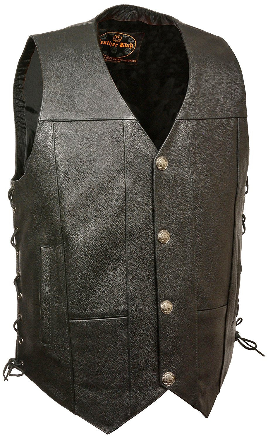 Milwaukee Men's Side Lace Vest with Buffalo Snaps - Maine-Line Leather