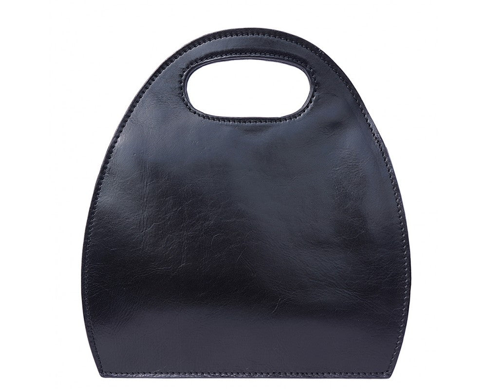 Semi Oval Bag With Built-In Handle Made Of Genuine Calf Leather Multi Colors
