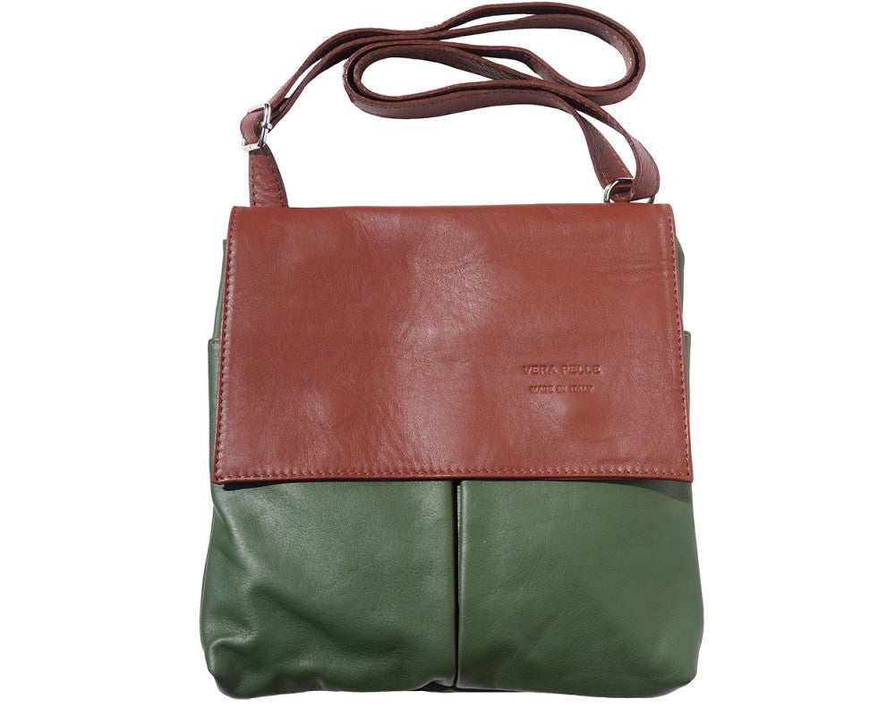 Calf Leather Shoulder Bag with Front Pockets Multi Colors - Maine-Line Leather - 1
