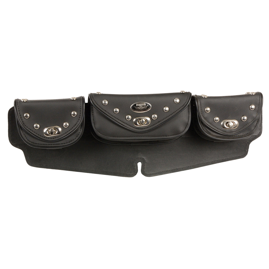 Large Studded Triple Pocket Windshield Mount Bag w/ Turn Clasps (22X6X3)