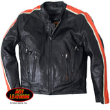 Men's Leather Jacket with Orange & Cream Arm Stripes - Maine-Line Leather - 1
