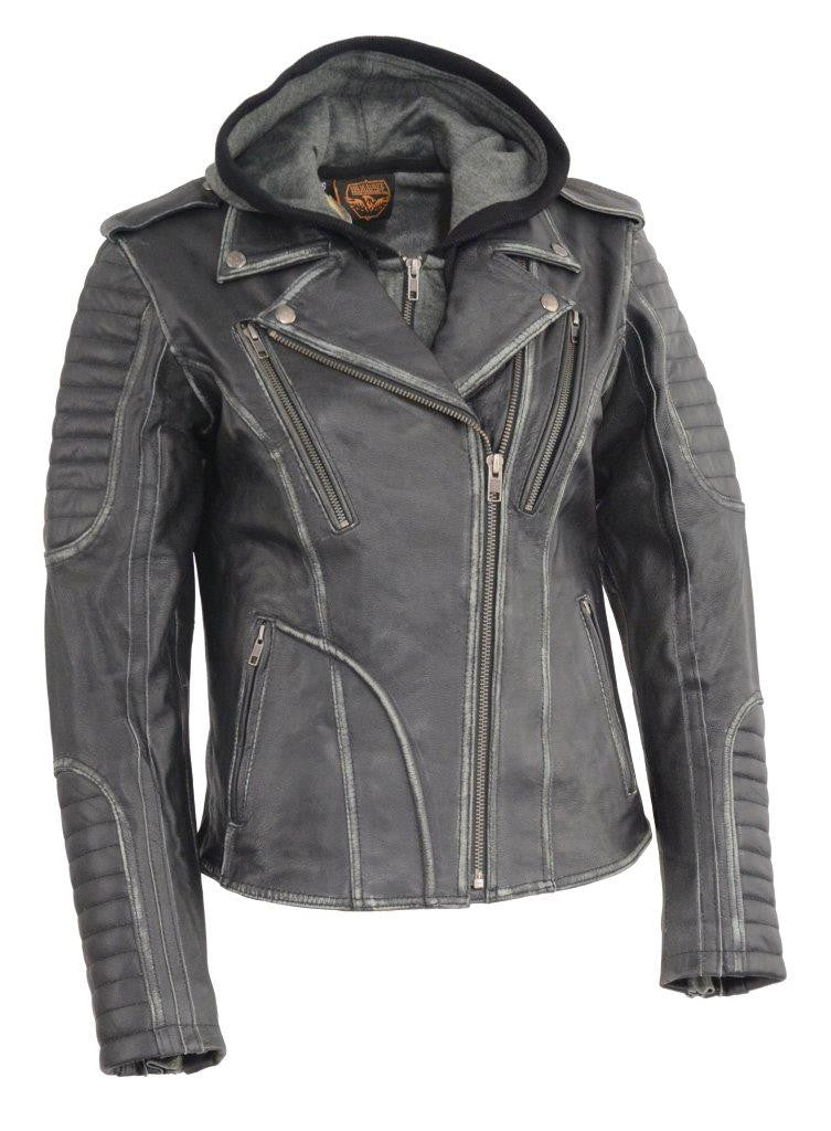 Ladies Distressed Gray Leather Motorcycle Jacket w Removable Hoodie
