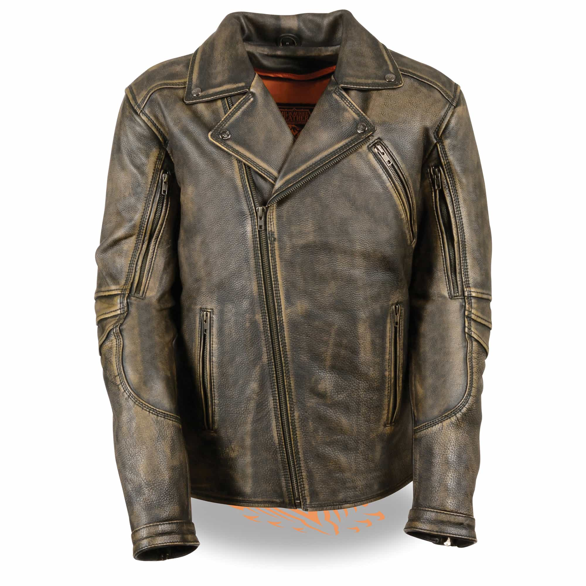 Men's Triple Stitch Extra Long Beltless Biker Jacket Distressed Brown