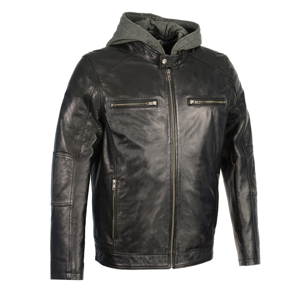 Men's Snap Collar Leather Moto Jacket w/ Removable Hood 2 Colors