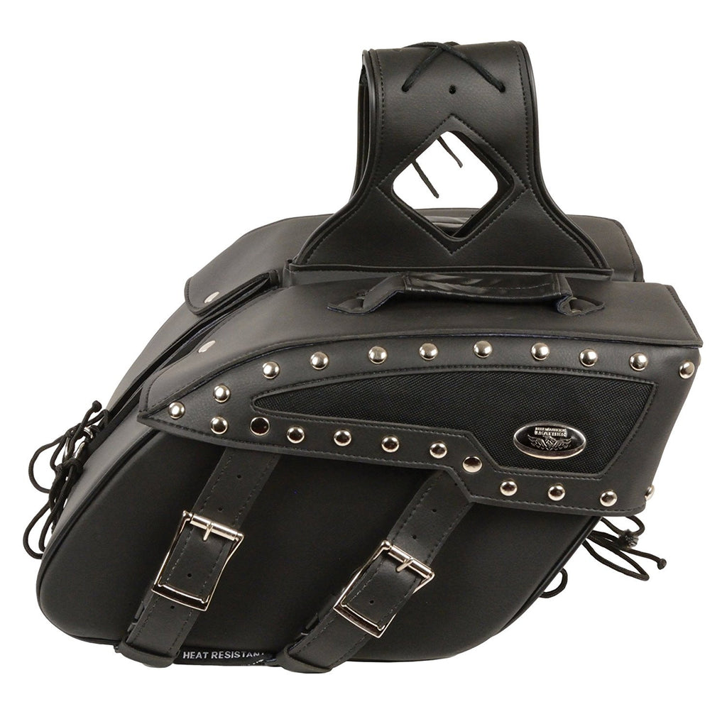 Medium Zip-Off Studded PVC Slanted Throw Over Saddle Bag (13X10X5.5X20)