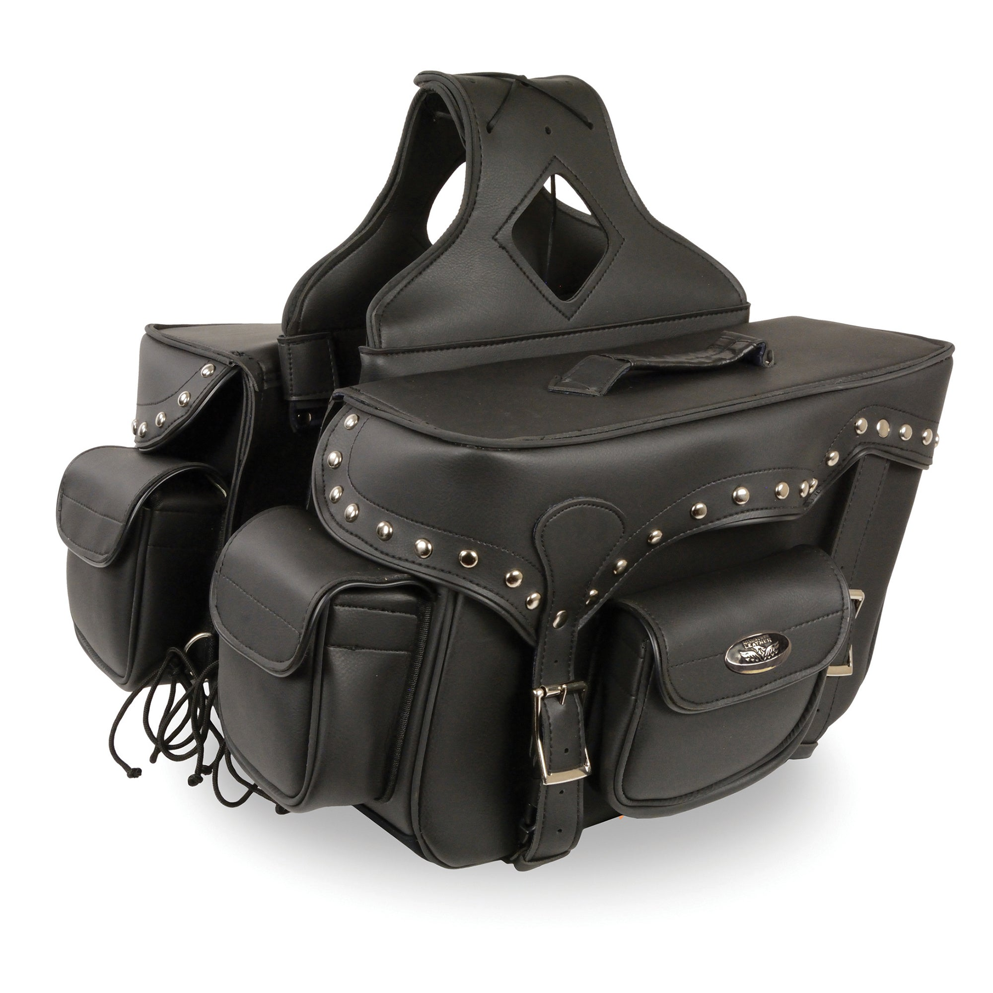 Double Front Pocket Studded PVC Throw Over Saddle Bag w/ Reflective Piping