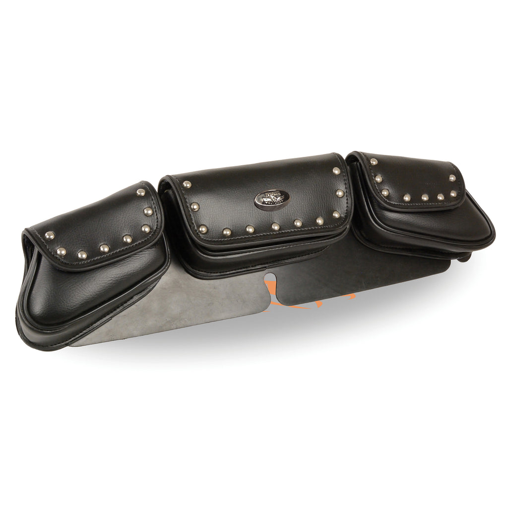 Triple Pocket Studded PVC Travel Windshield Bag (22X6X2)