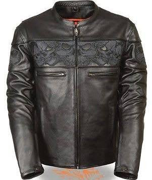 Milwaukee Leather Men's Leather Crossover Scooter Jacket w/ Reflective Skulls - Maine-Line Leather - 1