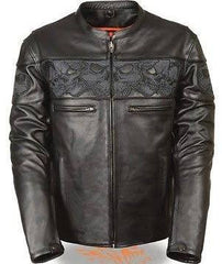 Milwaukee Leather Men's Leather Crossover Scooter Jacket w/ Reflective Skulls
