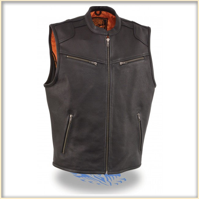 Men's Zipper Front Leather Vest w/ Cool Tec Leather