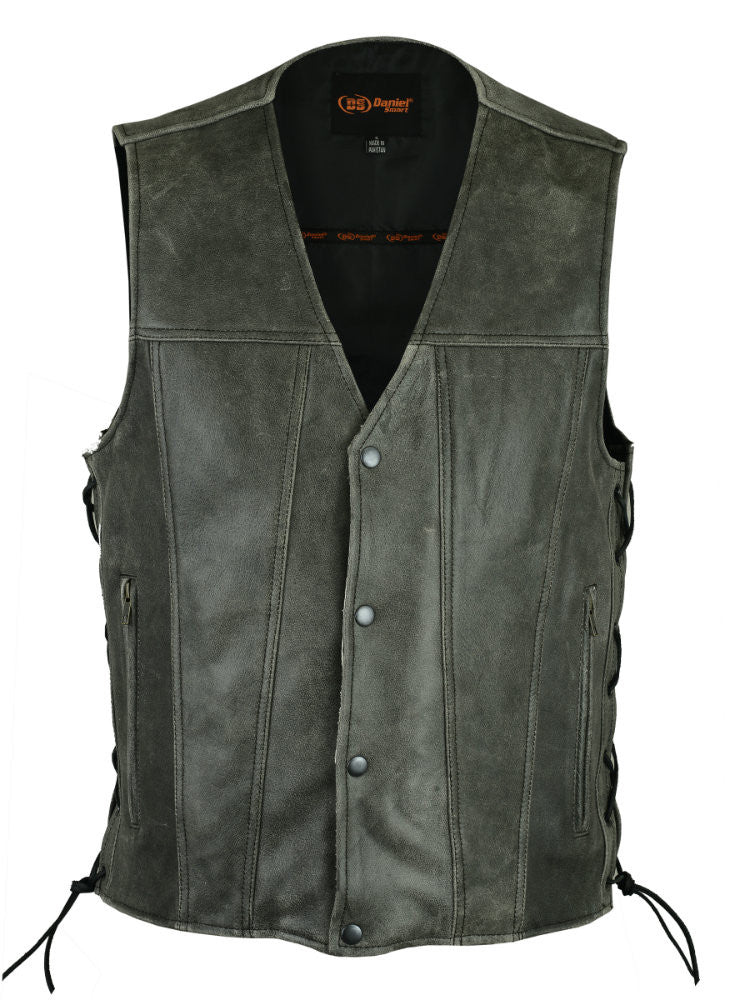 Men's Gray Single Back Panel Concealed Carry Vest - Maine-Line Leather - 1
