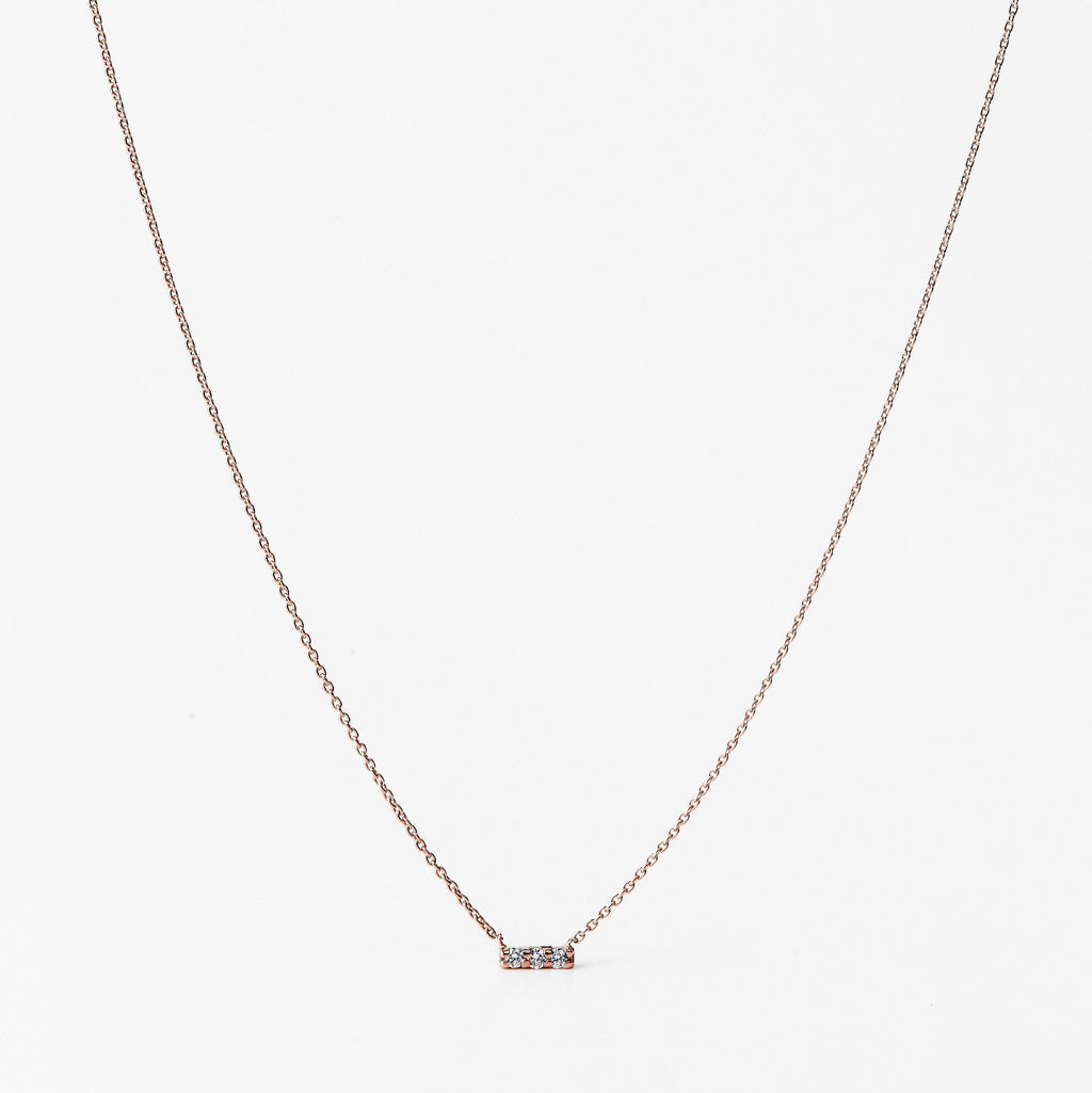 Collier en or rose avec 3 diamants montés en barre - LYLAN