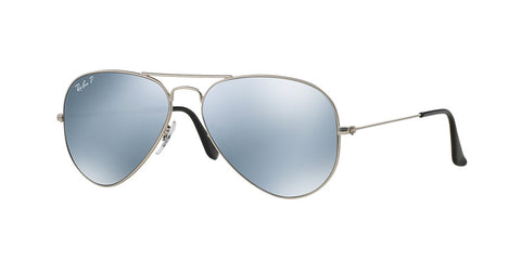 Ray Ban 3025 019/W3 Matte Silver Mirror Polarized