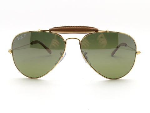 Ray Ban 3422Q 001/M9 Gold Light Brown Leather 58 Outdoorsman Polarized