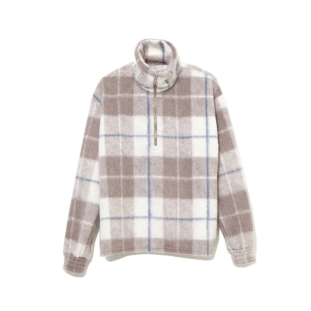 Plaid Half Zip Turtle Neck Cut-Sewn BEIGE