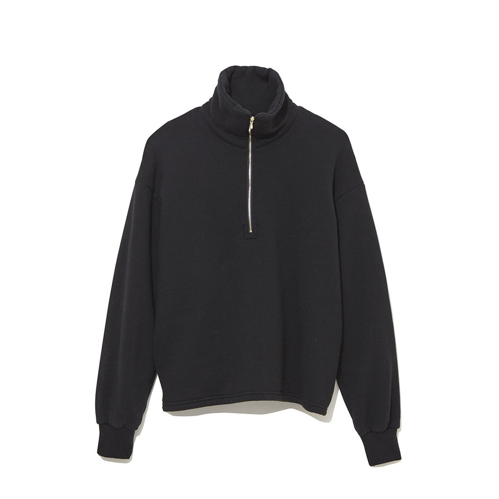 Half Zip Turtle Neck Cut-Sewn / BLACK