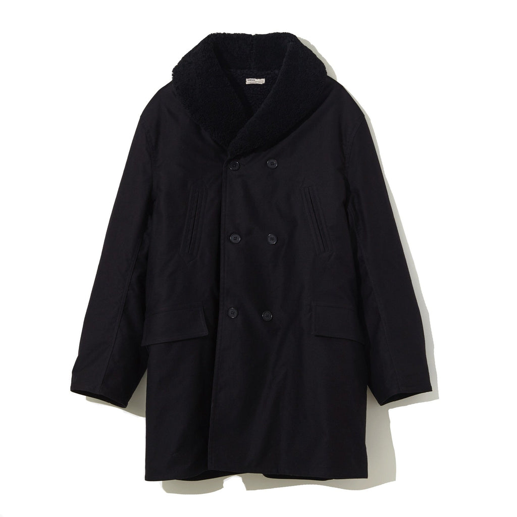 Mouton Collar Military Coat BLACK