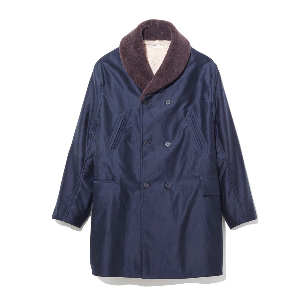 Mouton Collar Military Coat NAVY