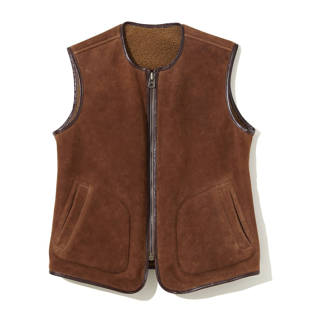 Reversible Mouton Vest BROWN