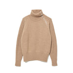 Zip-up Turtle Neck Knit BEIGE