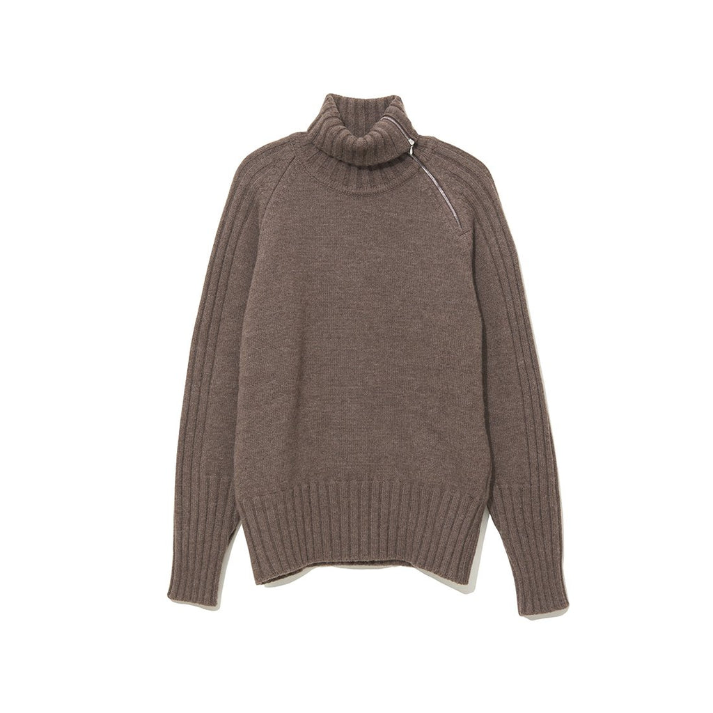Zip-up Turtle Neck Knit BROWN