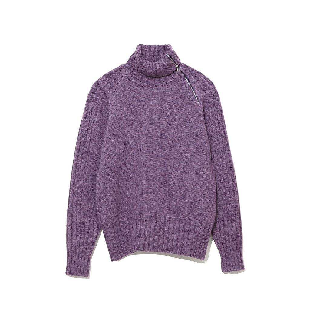 Zip-up Turtle Neck Knit PURPLE