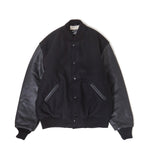 Leather Sleeve Studium Jumper / BLACK