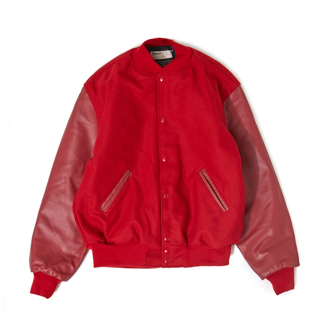 Leather Sleeve Studium Jumper / RED