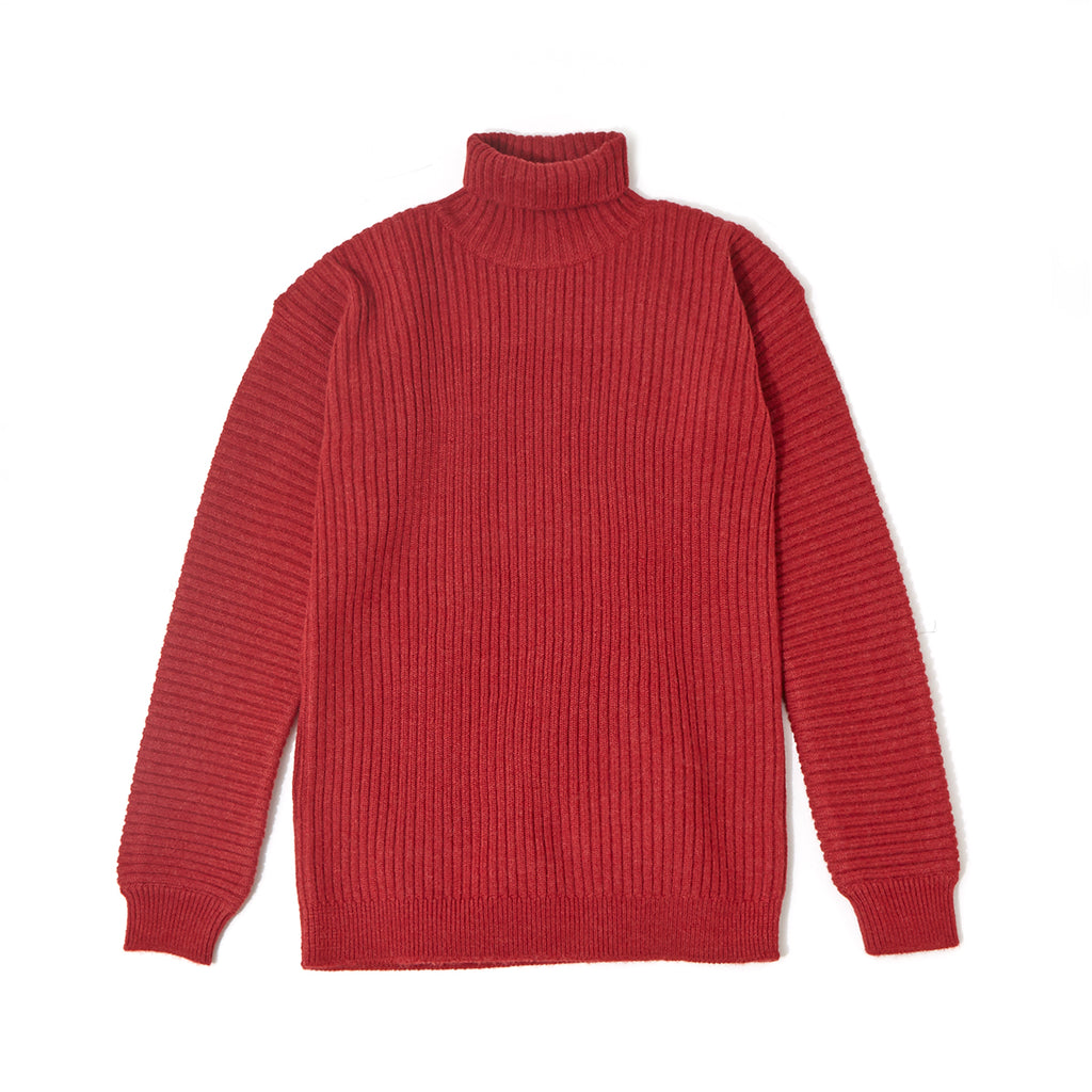 Rib Turtle Neck Knit / RED