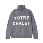 GRAPHIC TURTLE NECK KNIT / GRAY