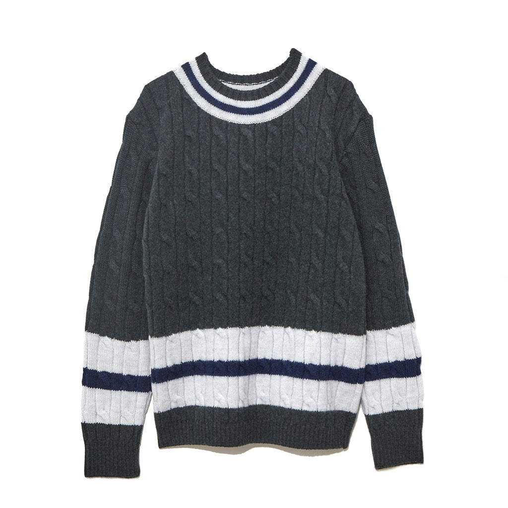 Cable Crew Neck Knit / GREEN