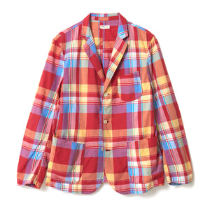 Khadi Cotton Check Jacket / RED
