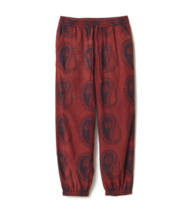 Organic Dyed Paisley Wide Pants / RED