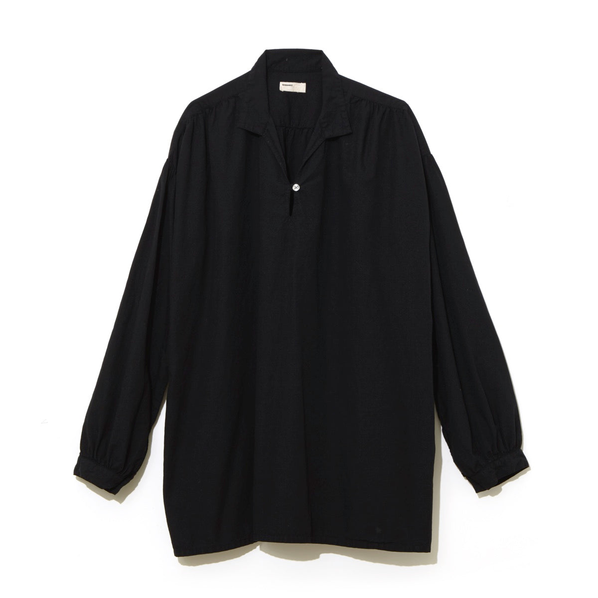 Gathered Skipper Shirt / BLACK