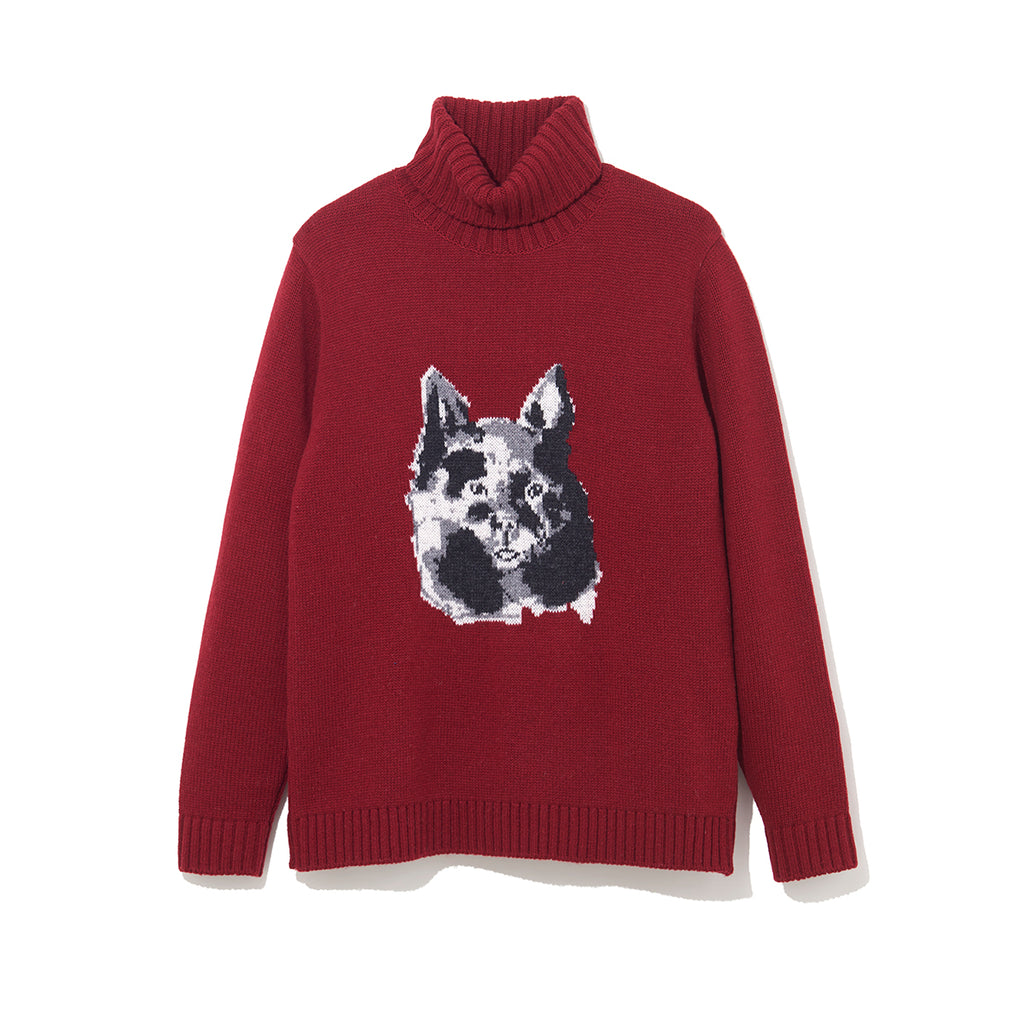 ILLUSTRATION TURTLE NECK KNIT B by Jody Asano / BURGUNDY (21A-NSA-KN-03)