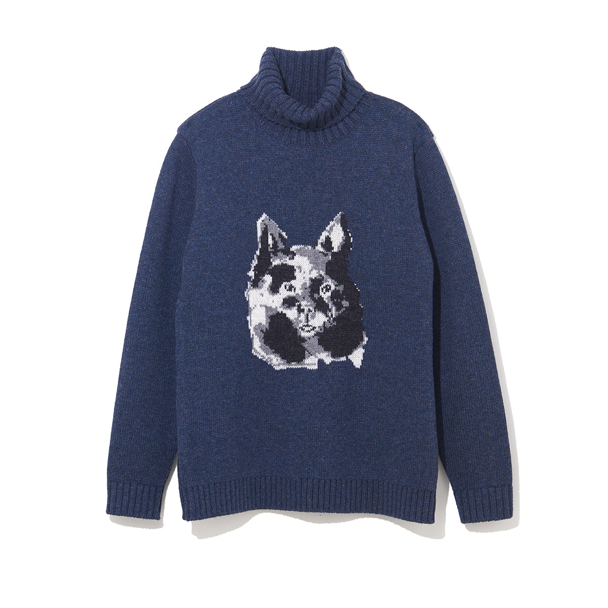 ILLUSTRATION TURTLE NECK KNIT B by Jody Asano / NAVY (21A-NSA-KN-03)