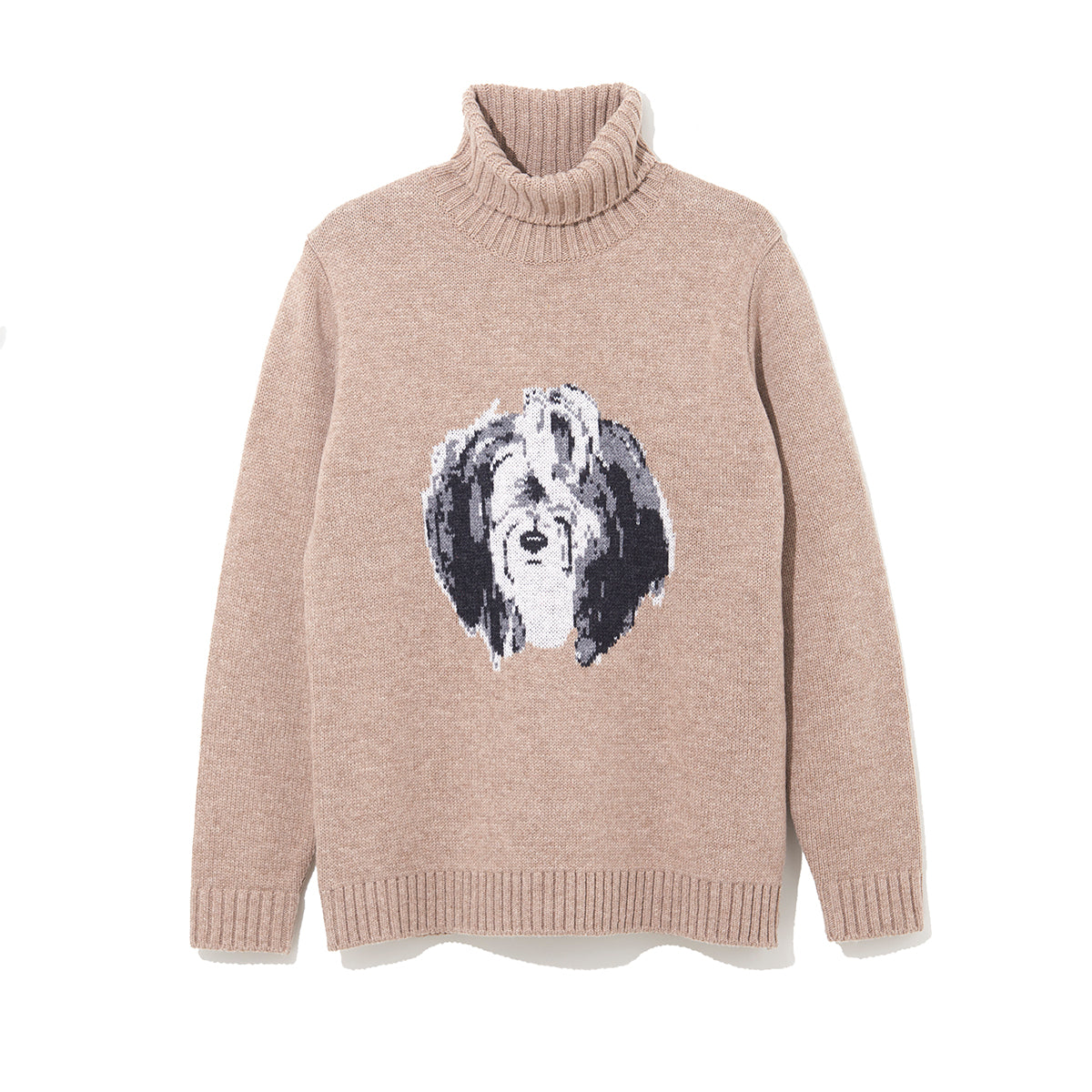 ILLUSTRATION TURTLE NECK KNIT C by Jody Asano / BEIGE (21A-NSA-KN-04)